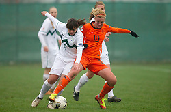 Barbara Kralj of Slovenia vs Kirsten van de Ven of Netherlands  during football match between Women national teams of Slovenia and Netherlands in 4th Round of EURO 2013 Qualifications, on November 19, 2011 in Ivancna Gorica, Slovenia. Netherlands defeated Slovenia 2-0. (Photo By Vid Ponikvar / Sportida.com)