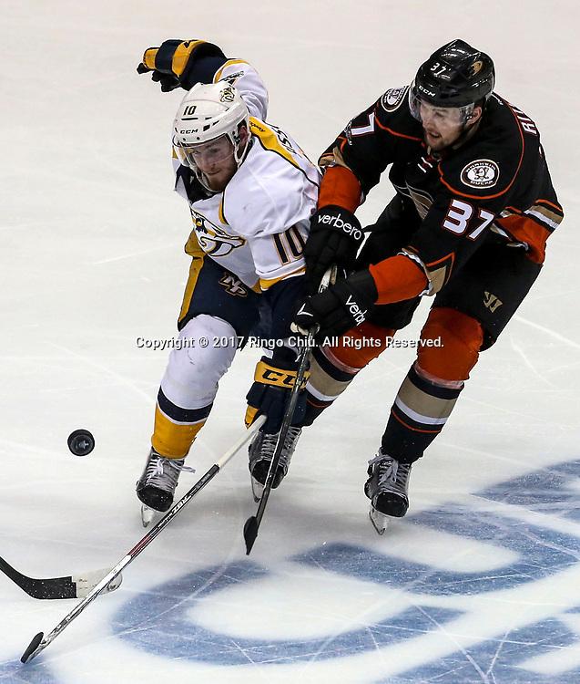 5月12日,纳什维尔捕食者队球员Colton Sissons (左) 与阿纳海姆鸭队球员 Nick Ritchie 在比赛中拼抢。当日,在美国加利福尼亚州的阿纳海姆举行的2016-2017赛季國家冰球聯盟(NHL)季后赛西部决赛,阿纳海姆鸭队 (Anaheim Ducks) 主场以3比2不敌纳什维尔捕食者队(Nashville Predators)。新华社发 (赵汉荣摄)