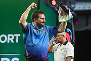 Jonny Clayton after his victory over Steve Beaton during the PDC Darts Players Championship at  at Butlins Minehead, Minehead, United Kingdom on 26 November 2017. Photo by Shane Healey.