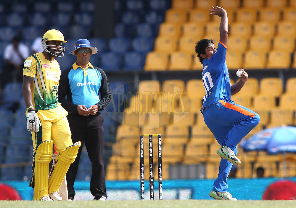 Sachith Pathirana of Nagenahira Nagas sends down a delivery  during match 19 of the Sri Lankan Premier League between Uthura Rudras and Nagenahiras held at the Premadasa Stadium in Colombo, Sri Lanka on the 26th August 2012. .Photo by Shaun Roy/SPORTZPICS/SLPL