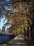 Autumn colors alone the Reservoir in Central Park.