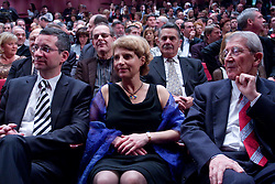 Rajmond Debevec, his wife Metka and coach Lojze Mikolic at  Slovenian sportsman of the year 2008 ceremony, on December 22, 2008, in Cankarjev dom, Ljubljana, Slovenia. (Photo by Vid Ponikvar / SportIda).