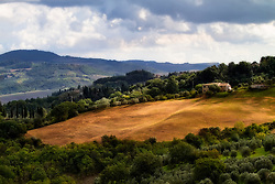 A field and farm in the rolling hills of Tuscany under a cloudy sky.