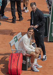 Roger Federer, training ahead the Roland Garros French Open tournament, on May 21, 2019 in Paris, France. Photo by ABACAPRESS.COM