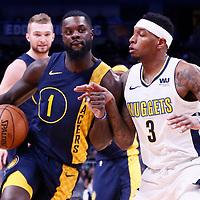 03 April 2018: Indiana Pacers guard Lance Stephenson (1) drives past Denver Nuggets guard Torrey Craig (3) during the Denver Nuggets 107-104 victory over the Indiana Pacers, at the Pepsi Center, Denver, Colorado, USA.