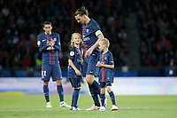 Zlatan Ibrahimovic (psg) with their children on the playground during the French Championship Ligue 1 football match between Paris Saint Germain and FC Nantes on May 14, 2016 at Parc des Princes stadium in Paris, France - Photo Stephane Allaman / DPPI