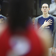 Breanna Stewart, UConn, during the National Anthem before the UConn Vs SMU Women's College Basketball game at Gampel Pavilion, Storrs, Conn. 24th February 2016. Photo Tim Clayton