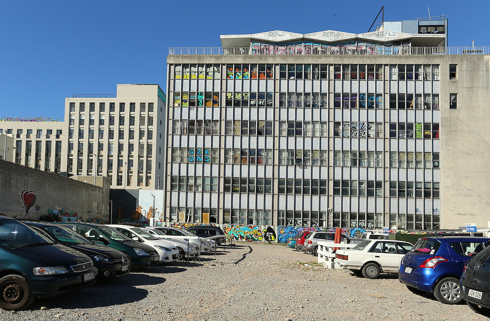 Christchurch International College building which was earthquake damaged at 159 Hereford Street, now covered in graffiti  Christchurch, New Zealand, Wednesday, 13 April 2016.  Credit: SNPA / Pam Carmichael