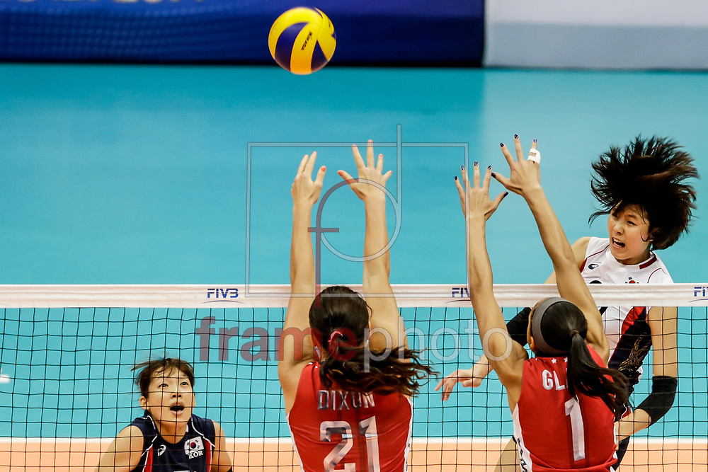 Lee Jaeyeong durante partida entre EUA x Coreia do Sul válida pelo Grand Prix de Vôlei Feminino, no Ginásio do Ibirapuera, na capital paulista, neste sábado (09/08). Foto: Thiago Bernardes/Frame