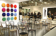 DEU, Germany, Cologne, IMM Cologne, the international furniture fair at the exhibition center Koelnmesse, stand of the company Thonet.....DEU, Deutschland, Koeln, Internationale Moebelmesse, IMM Cologne in den Messehallen, Koelnmesse, Stand der Firma Thonet...