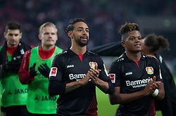 December 8, 2017 - Stuttgart, Germany - Leverkusens Karim Bellarabi and Leon Bailey celebrate their victory after the final whistle the Bundesliga match between VfB Stuttgart and Bayer 04 Leverkusen at Mercedes-Benz Arena on December 8, 2017 in Stuttgart, Germany. (Credit Image: © Bartek Langer/NurPhoto via ZUMA Press)