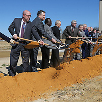Officials break ground for the new expansion underway at General Atomics in Shannon Wednesday morning.