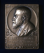 Plaquette commemorating the death of Henri Poincare, French mathematician and philosopher, 1912. Poincare (1854-1912) is best remembered for his work on topology and celestial mechanics.