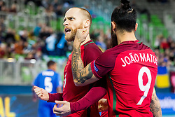Pedro Cary and Joao Matos of Portugal celebrates during futsal match between Portugal and Azerbaijan in Quaterfinals of UEFA Futsal EURO 2018, on February 6, 2018 in Arena Stozice, Ljubljana, Slovenia. Photo by Ziga Zupan / Sportida