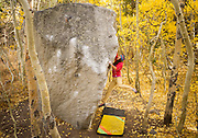 Jenica Law dynos for a hold on Groove and Arete, v4. <br /> Rock Creek, California