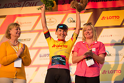 Lisa Brennauer (GER) of CANYON//SRAM Racing celebrates remaining in the overall leader's yellow jersey after Stage 2 of the Lotto Thuringen Ladies Tour - a 102.9 km road race, starting and finishing in Dortendorf on July 14, 2017, in Thuringen, Germany. (Photo by Balint Hamvas/Velofocus.com)