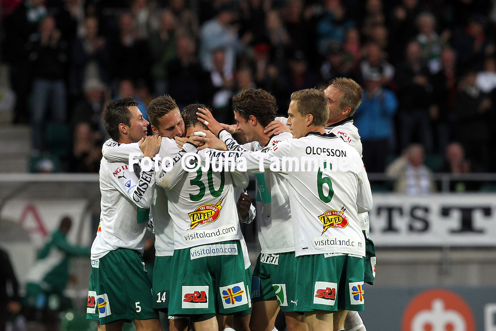 2.9.2012, Wiklof Holding Arena, Mariehamn / Maarianhamina..Veikkausliiga 2012..IFK Mariehamn - Kuopion Palloseura..IFK juhlii Ermin Gadzon 2-0 maalia.