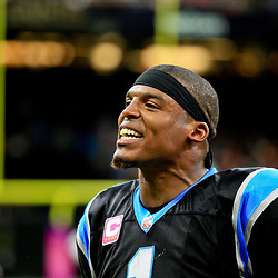 Oct 16, 2016; New Orleans, LA, USA; Carolina Panthers quarterback Cam Newton (1) reacts after scoring a touchdown against the New Orleans Saints during the fourth quarter of a game at the Mercedes-Benz Superdome. The Saints defeated the Panthers 41-38. Mandatory Credit: Derick E. Hingle-USA TODAY Sports