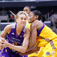 18 May 2014: Phoenix Mercury forward Penny Taylor (13) drives to the basket during the Phoenix Mercury 74-69 victory over the Los Angeles Sparks, at the Staples Center, Los Angeles, California, USA.