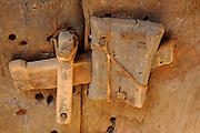 Old door locker in the ruins of the world heritage sight of Ouadane, Western Africa, Mauretania, Africa