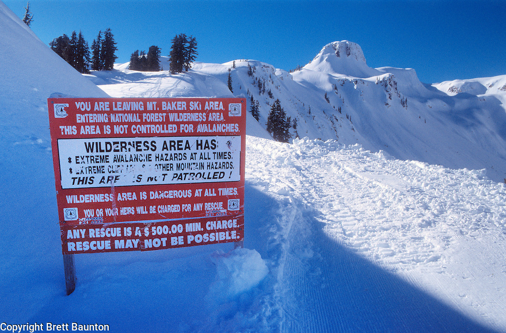 Mt. Baker Wilderness Area; BackCountry Ski sign, Table Mt.