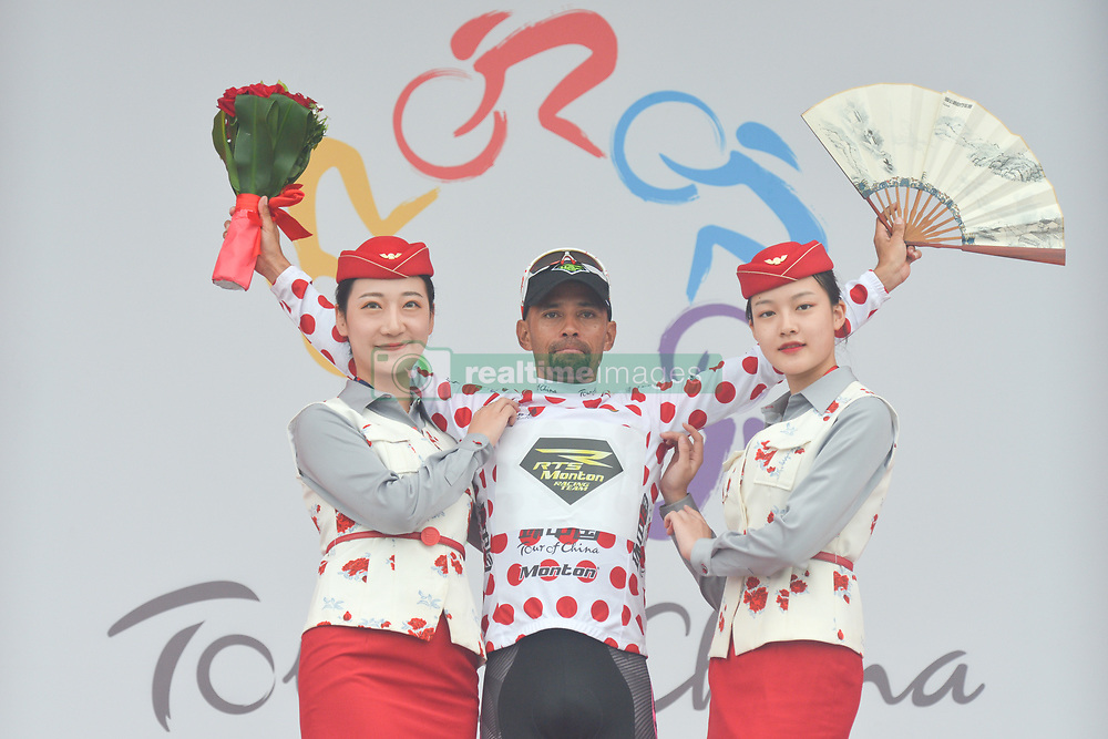 September 15, 2017 - Chenghu City, China - Mauricio Ortega Raminez from Monton Racing Team keeps the King of the Mountains Polka Dots Jersey after the fourth stage of the 2017 Tour of China 1, the 3.3 km Chenghu Jintang individual time trial. .On Friday, 15 September 2017, in Jintang County, Chenghu City,  Sichuan Province, China. (Credit Image: © Artur Widak/NurPhoto via ZUMA Press)