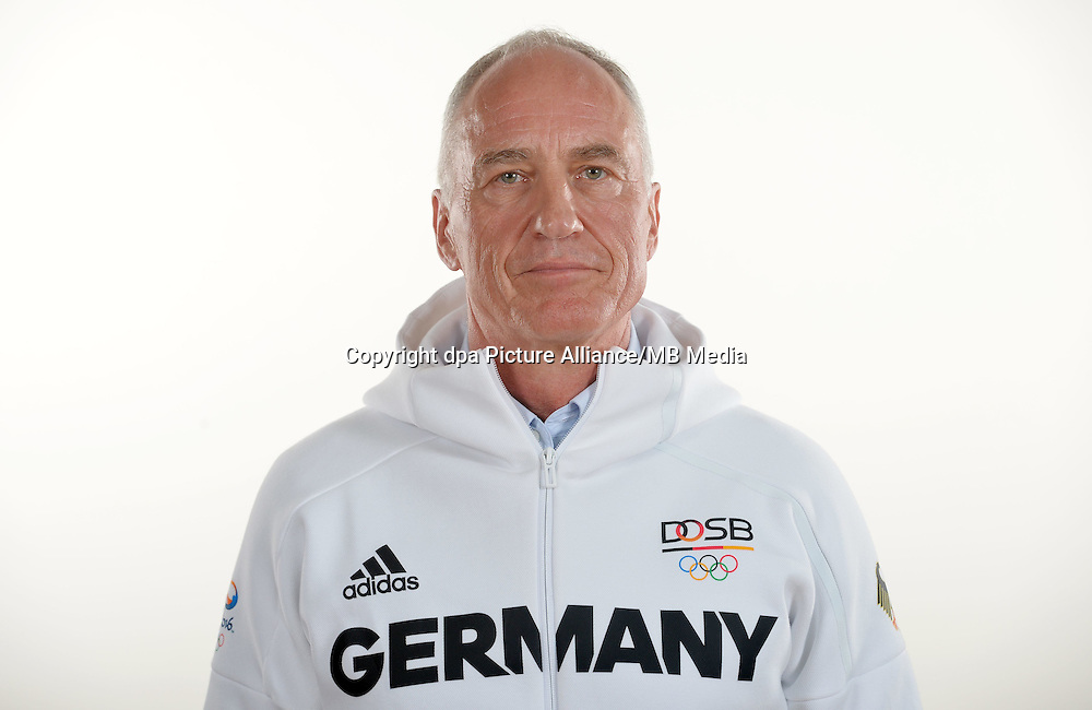 Wolfgang Willam poses at a photocall during the preparations for the Olympic Games in Rio at the Emmich Cambrai Barracks in Hanover, Germany. July 25, 2016. Photo credit: Frank May/ picture alliance. | usage worldwide