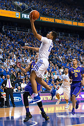 Kentucky guard Isaiah Briscoe drives to the basket in the first half. <br /> <br /> The University of Kentucky hosted the LSU Tigers, Saturday, March 05, 2016 at Rupp Arena in Lexington .