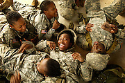 Soldiers sing songs together during some down time at Fort Jackson, SC.