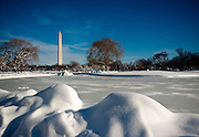 The Washington Momument seen from the snow-covered Constitution Gardens in Washington D.C. following the blizzard of 2010.