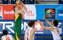 Ksistof Lavrinovic of Lithuania during the EuroBasket 2009 Group F match between Spain and Lithuania, on September 14, 2009 in Arena Lodz, Hala Sportowa, Lodz, Poland.  (Photo by Vid Ponikvar / Sportida)