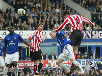 Photo: Aidan Ellis.<br /> Everton v Sunderland. The Barclays Premiership. 01/04/2006.<br /> Sunderland's Rory Delap heads in the equalising goal