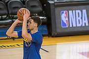 May 30, 2018; Oakland, CA, USA; Golden State Warriors guard Klay Thompson (11) shoots the basketball during NBA Finals media day at Oracle Arena.