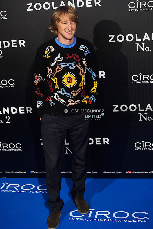 Owen Wilson attend 'Zoolander No. 2' film premiere at Capitol Cinema on February 1, 2016 in Madrid, Spain