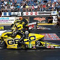 Karen Stoffer and Mike Phillips at Full throttle drag racing series, National Hot Rod Association 2011