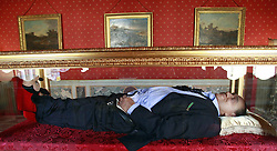 Sculpture of the artists Antonio Garullo e Mario Ottocento, called The Dream of Italians ,representing Silvio Berlusconi, sleeping and dreaming of his Reign.29th May 2012. Photo by Imago/ i-Images.