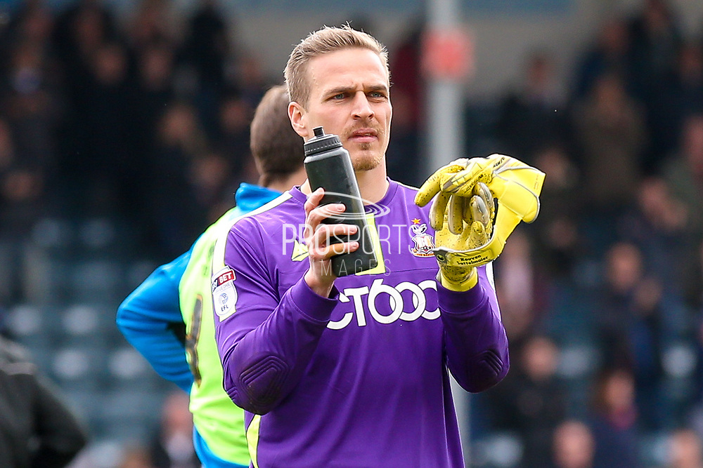 Bradford City goalkeeper Rouven Sattelmaier (12)  applauds the fans during the EFL Sky Bet League 1 match between Rochdale and Bradford City at The Crown Oil Arena, Rochdale, England on 30 April 2017. Photo by Simon Davies.
