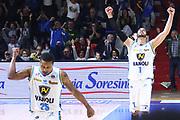 DESCRIZIONE : Cremona Lega A 2015-2016 Vanoli Cremona Acqua Vitasnella Cantu<br /> GIOCATORE : Tyrus McGee Nikola Dragovic<br /> SQUADRA : Vanoli Cremona<br /> EVENTO : Campionato Lega A 2015-2016<br /> GARA : Vanoli Cremona Acqua Vitasnella Cantu<br /> DATA : 03/04/2016<br /> CATEGORIA : Ritratto Esultanza<br /> SPORT : Pallacanestro<br /> AUTORE : Agenzia Ciamillo-Castoria/F.Zovadelli<br /> GALLERIA : Lega Basket A 2015-2016<br /> FOTONOTIZIA : Cremona Campionato Italiano Lega A 2015-16  Vanoli Cremona Acqua Vitasnella Cantu<br /> PREDEFINITA : <br /> F Zovadelli/Ciamillo