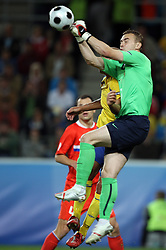 Goalkeeper of Russia Igor Akinfeev and behind Henrik Larsson of Sweden during the UEFA EURO 2008 Group D soccer match between Sweden and Russia at Stadion Tivoli NEU, on June 18,2008, in Innsbruck, Austria.  (Photo by Vid Ponikvar / Sportal Images)