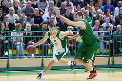 Matej Rojc of Krka vs Goran Jagodnik of Union Olimpija during basketball match between KK Krka and KK Union Olimpija in Round #7 of Telemach League for Slovenian National Champion 2014/15 on April 18, 2015 in Dvorana Leona Stuklja, Novo mesto, Slovenia. Photo by Vid Ponikvar / Sportida