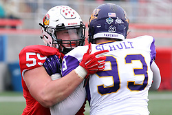 06 December 2014:  Normal Illinois.  Michael Liedtke works against Karter Schult during a 1st round FCS NCAA football game between the Panthers of Northern Iowa and the Redbirds of Illinois State in Hancock Stadium.  Illinois State won the game 41-21.
