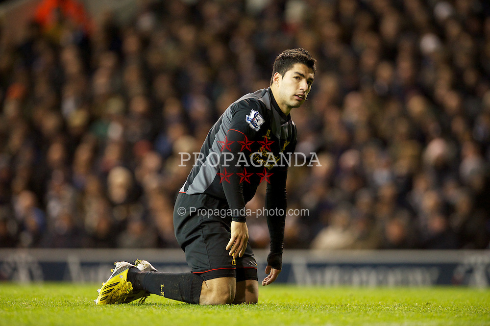 LONDON, ENGLAND - Wednesday, November 28, 2012: Liverpool's Luis Alberto Suarez Diaz in action against Tottenham Hotspur during the Premiership match at White Hart Lane. (Pic by David Rawcliffe/Propaganda)