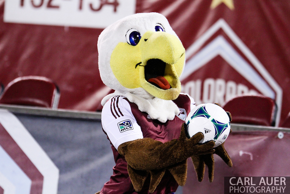 September 14th, 2013 -  Edson the Eagle delivers the game ball prior to the start of action in the MLS Soccer game between FC Dallas and the Colorado Rapids at Dick's Sporting Goods Park in Commerce City, CO