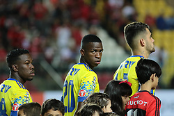 August 30, 2017 - Espirito Santo, Sao Paulo, Brazil - The Brazilian professional footballer Vinicius Junior who plays as a forward for Flamengo. On 23 May 2017, Spanish club Real Madrid signed a contract to acquire Vinícius, effective after his 18th birthday on 12 July 2018. (as age 18 was the minimal age for international transfer). Here he is seen in a match Flamengo against Parana Clube by the 1st League Kleber Andrade at Stadium Cariacica in the City Espirito Santo, Brazil on 30 August 2017. (Credit Image: © Gilson Borba/NurPhoto via ZUMA Press)