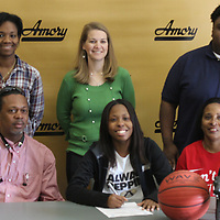 RAY VAN DUSEN/BUY AT PHOTOS.MONROECOUNTYJOURNAL.COM<br /> Front row, from left, Vincent Hill, Victoria Hale, Brenda McIntosh. Back row, from left, Amory coach Paula Wax, assistant coach Amanda Eddings and Shaquelle Perks.