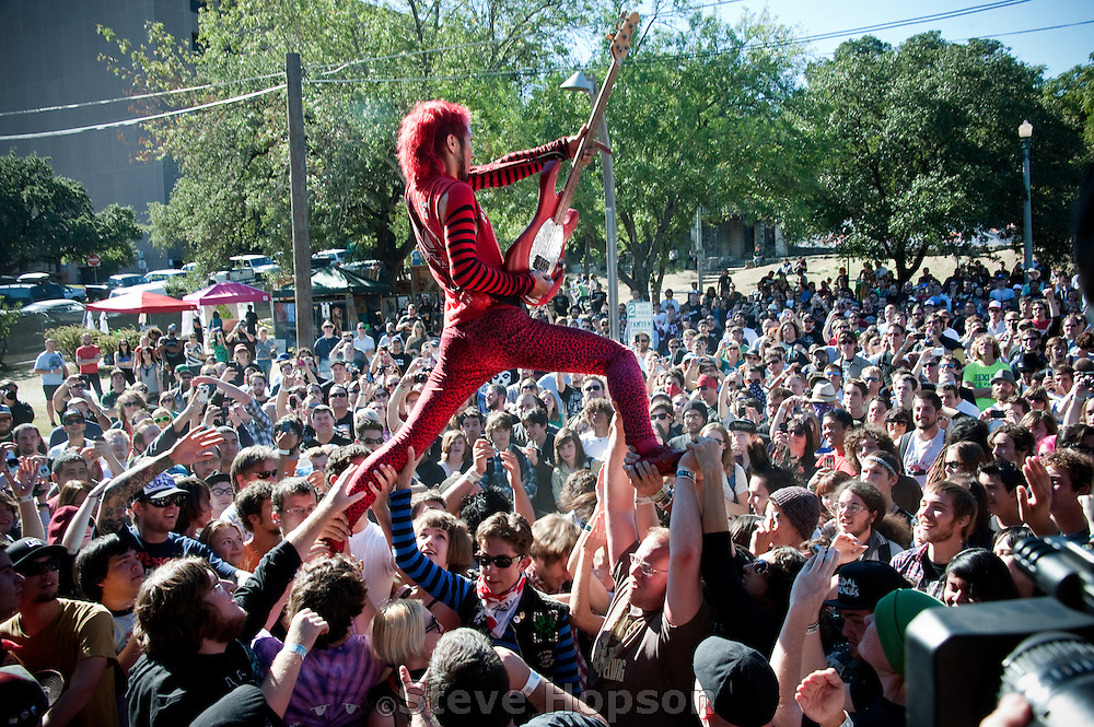 """Peelander-Z , Fun Fun Fun Fest, Austin, Texas, November 7, 2010. Peelander-Z is a Japanese punk band based in New York City. They bill themselves as a """"Japanese Action Comic Punk band hailing from the Z area of Planet Peelander""""."""
