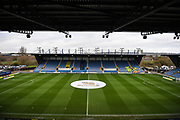 "High view of the Kassam Stadium with ""Singha Beer"" logo in the centre circle during the EFL Sky Bet League 1 match between Oxford United and Shrewsbury Town at the Kassam Stadium, Oxford, England on 7 December 2019."