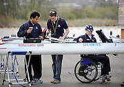 Caversham, GREAT BRITAIN, left to right ,  GB M2X. JAMES ROBERTS - [TA2X] , Tom DYSON and Karen CROMIE   [TA2X], Adaptive Rowing Media Day [athletes training for the Beijing Paralympics] Athletes Training for the Beijing Olympics at the Pinsent-Redgrave Rowing Lake,  Wed 02.04.2008  [Mandatory Credit, Peter Spurrier / Intersport-images Rowing course: GB Rowing Training Complex, Redgrave Pinsent Lake, Caversham, Reading .  Adaptive, Rowing.