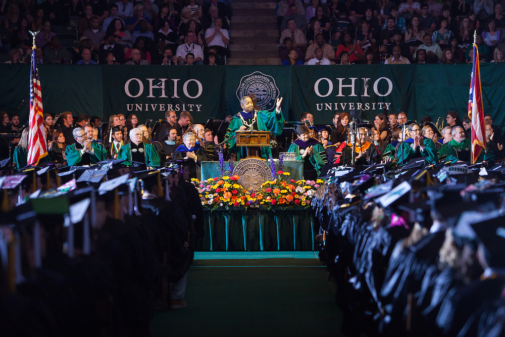 Ohio University President McDavis welcomes the family and friends of the 2014 graduates during the commencement ceremony Saturday May 3, 2014. Photo by Ohio University / Jonathan Adams