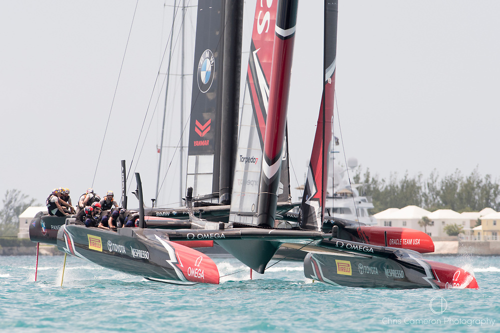 The Great Sound, Bermuda, 17th June Emirates Team New Zealand wins the start of race two of the America's Cup against Defender, Oracle Team USA.